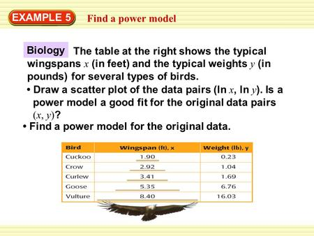 EXAMPLE 5 Find a power model Find a power model for the original data. The table at the right shows the typical wingspans x (in feet) and the typical weights.