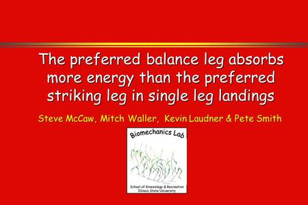 The preferred balance leg absorbs more energy than the preferred striking leg in single leg landings Steve McCaw, Mitch Waller, Kevin Laudner & Pete Smith.