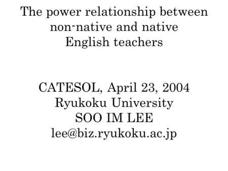native vs non native teachers