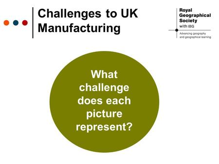 Challenges to UK Manufacturing What challenge does each picture represent?