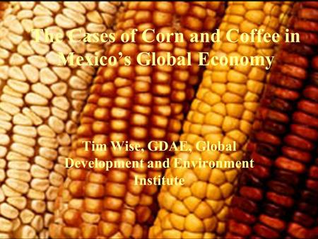 The Cases of Corn and Coffee in Mexico's Global Economy Tim Wise, GDAE, Global Development and Environment Institute.