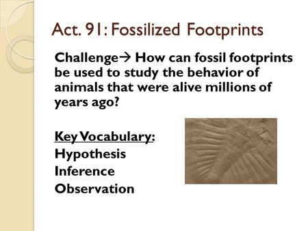 Act. 91: Fossilized Footprints Challenge  How can fossil footprints be used to study the behavior of animals that were alive millions of years ago? Key.