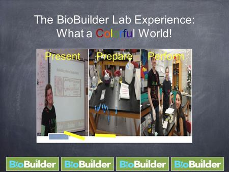 The BioBuilder Lab Experience: What a Colorful World! PresentPreparePerform.