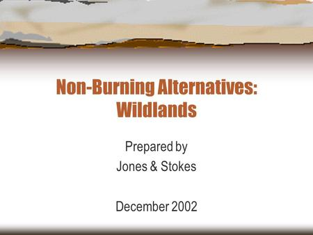 Non-Burning Alternatives: Wildlands Prepared by Jones & Stokes December 2002.