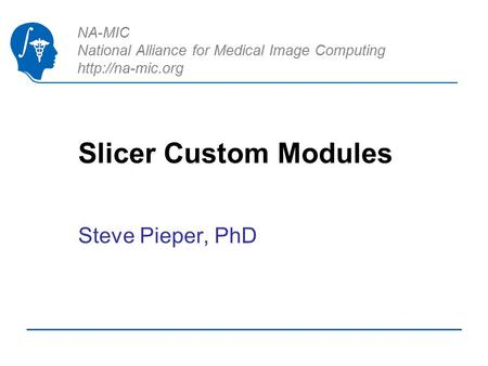 NA-MIC National Alliance for Medical Image Computing  Slicer Custom Modules Steve Pieper, PhD.