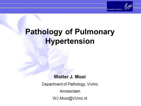 Pathology of Pulmonary Hypertension Wolter J. Mooi Department of Pathology, VUmc Amsterdam