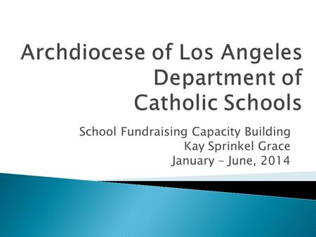 School Fundraising Capacity Building Kay Sprinkel Grace January – June, 2014.