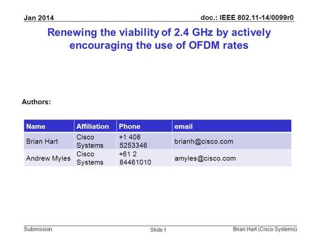 Doc.: IEEE 802.11-14/0099r0 Submission Jan 2014 Brian Hart (Cisco Systems) Slide 1 Renewing the viability of 2.4 GHz by actively encouraging the use of.