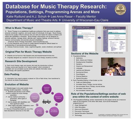 Original Plan for <strong>Music</strong> <strong>Therapy</strong> Website What is <strong>Music</strong> <strong>Therapy</strong>? Evolution of Website Katie Rydlund and A.J. Schuh  Lee Anna Rasar – Faculty Mentor Department.