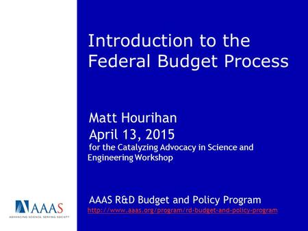 Introduction to the Federal Budget Process