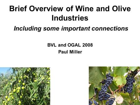 Brief Overview of Wine and Olive Industries Including some important connections BVL and OGAL 2008 Paul Miller.