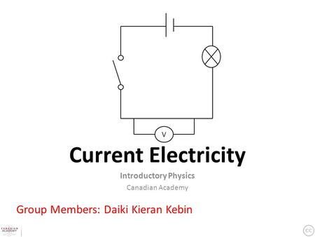 Current Electricity Introductory Physics Canadian Academy Group Members: Daiki Kieran Kebin V.