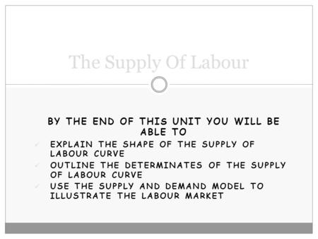 BY THE END OF THIS UNIT YOU WILL BE ABLE TO EXPLAIN THE SHAPE OF THE SUPPLY OF LABOUR CURVE OUTLINE THE DETERMINATES OF THE SUPPLY OF LABOUR CURVE USE.