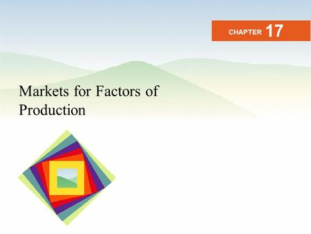 Markets for Factors of Production CHAPTER 17. After studying this chapter you will be able to Explain the link between a factor price and factor income.
