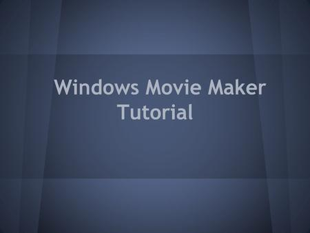 Windows Movie Maker Tutorial. WMM - Engaging Technology Windows Movie Maker is a tool that can be used in education. –Topics addressed: Why use Windows.