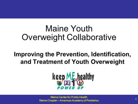 Maine Center for Public Health Maine Chapter – American Academy of Pediatrics 1 Maine Youth Overweight Collaborative Improving the Prevention, Identification,