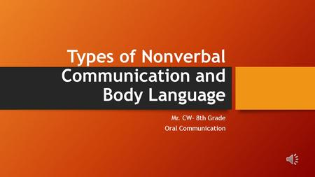 Types of Nonverbal Communication and Body Language Mr. CW- 8th Grade Oral Communication.