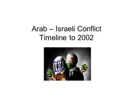 "Arab – Israeli Conflict Timeline to 2002. Basle Switzerland,1897 1 st Zionist Congress convened to discuss ""the Jewish problem"" (The Basle Program)"