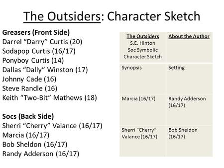 Outsiders character analysis essay