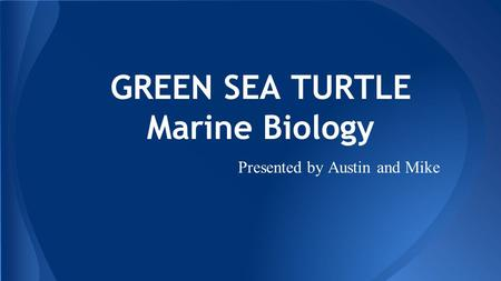 GREEN SEA TURTLE Marine Biology Presented by Austin and Mike.