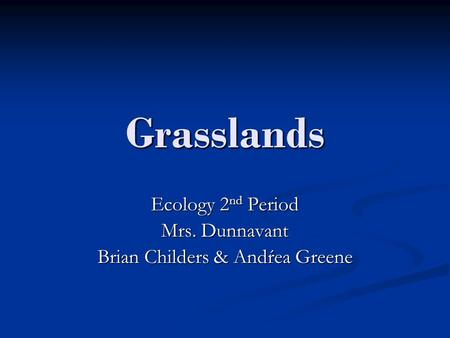 Grasslands Ecology 2 nd Period Mrs. Dunnavant Brian Childers & Andŕea Greene.