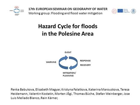 17th EUROPEAN SEMINAR ON GEOGRAPHY OF WATER Working group: Flooding and flood water mitigation EVENT RESPONSE RECOVERY MITIGATION/ PLANNING WARNING Hazard.