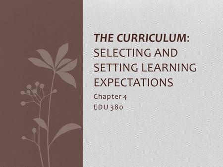 Chapter 4 EDU 380 THE CURRICULUM: SELECTING AND SETTING LEARNING EXPECTATIONS.