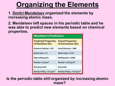 Organizing the Elements 1. Dmitri Mendeleev organized the elements by increasing atomic mass. 2. Mendeleev left spaces in his periodic table and he was.