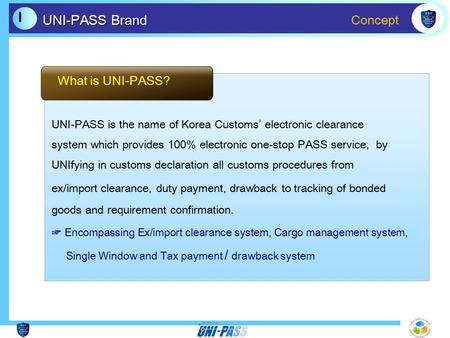 Concept Ⅰ Ⅰ UNI-PASS Brand UNI-PASS is the name of Korea Customs' electronic clearance system which provides 100% electronic one-stop PASS service, by.