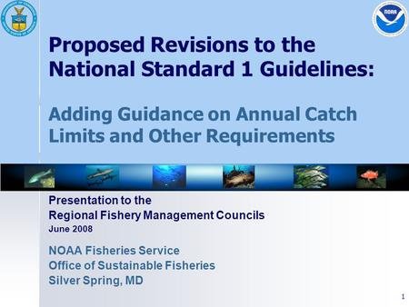 1 Proposed Revisions to the National Standard 1 Guidelines: Adding Guidance on Annual Catch Limits and Other Requirements Presentation to the Regional.
