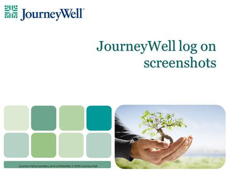 © JourneyWell proprietary and confidential, © 2009 JourneyWell JourneyWell log on screenshots.