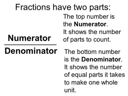 Numerator The bottom number is the Denominator. It shows the number of equal parts it takes to make one whole unit. Fractions have two parts: Denominator.