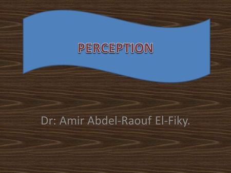 "Dr: Amir Abdel-Raouf El-Fiky.. What is Perception? ""Perception is our sensory experience of the world around us and involves both the recognition of environmental."