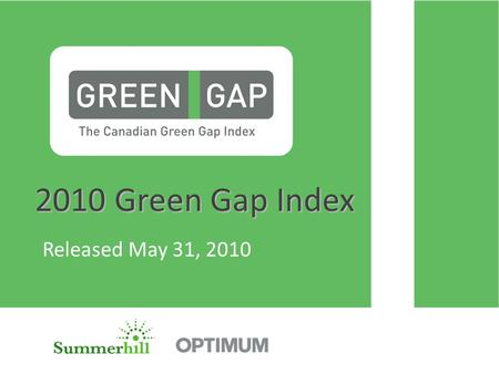 2010 Green Gap Index 2010 Green Gap Index Released May 31, 2010.