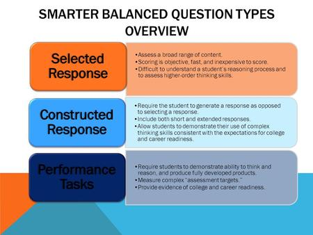SMARTER BALANCED QUESTION TYPES OVERVIEW TEXT TXT EXT Assess a broad range of content. Scoring is objective, fast, and inexpensive to score. Difficult.