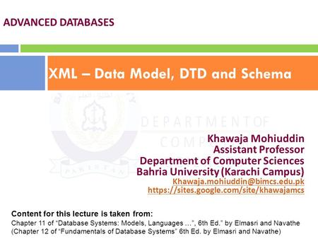 XML – Data Model, DTD and Schema
