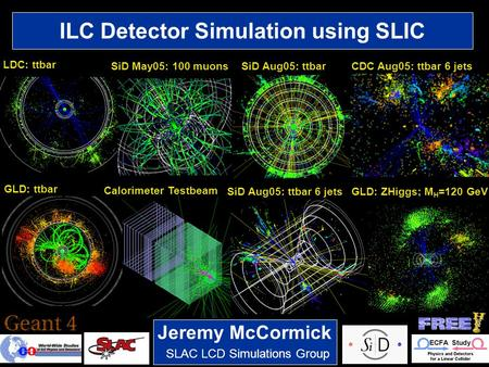 1 SLAC LCD Simulations Group Jeremy McCormick ILC Detector Simulation using SLIC LDC: ttbar SiD May05: 100 muonsSiD Aug05: ttbarCDC Aug05: ttbar 6 jets.