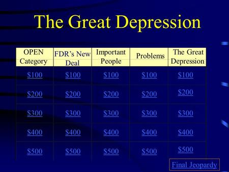 The Great Depression OPEN Category FDR's New Deal Important People Problems The Great Depression $100 $200 $300 $400 $500 $100 $200 $300 $400 $500 Final.