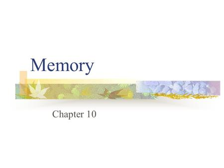 Memory Chapter 10 Memory 4/20/2017