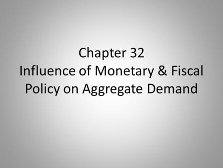 Chapter 32 Influence of Monetary & Fiscal Policy on Aggregate Demand.