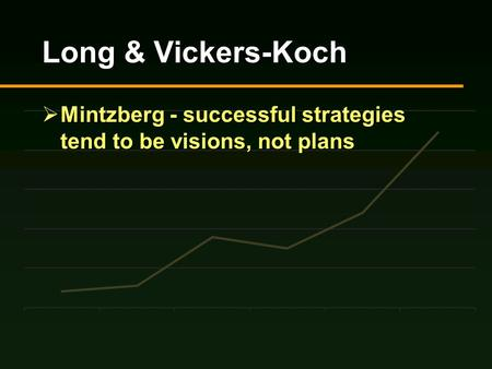 Long & Vickers-Koch  Mintzberg - successful strategies tend to be visions, not plans.