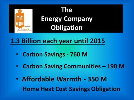 The Energy Company Obligation 1.3 Billion each year until 2015 Carbon Savings - 760 M Carbon Saving Communities – 190 M Affordable Warmth - 350 M Home.