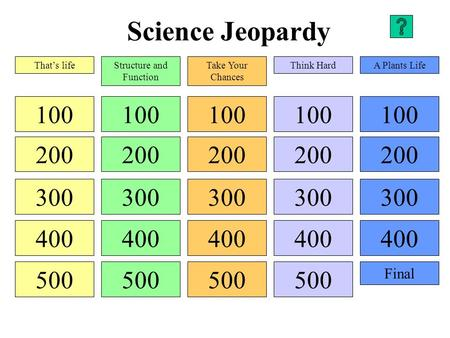 Science Jeopardy 100 200 300 400 500 100 200 300 400 500 100 200 300 400 500 100 200 300 400 500 100 200 300 400 Final That's lifeStructure and Function.