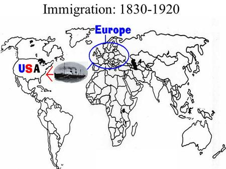 Immigration: 1830-1920. Immigration Immigration: When a person moves from one country to another. Push Factor: What pushes a person from a country. Pull.