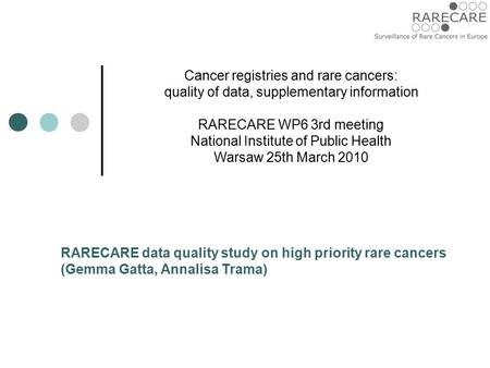 Cancer registries and rare cancers: quality of data, supplementary information RARECARE WP6 3rd meeting National Institute of Public Health Warsaw 25th.