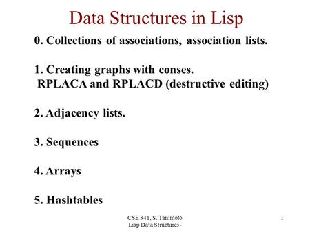 CSE 341, S. Tanimoto Lisp Data Structures - 1 Data Structures in Lisp 0. Collections of associations, association lists. 1. Creating graphs with conses.