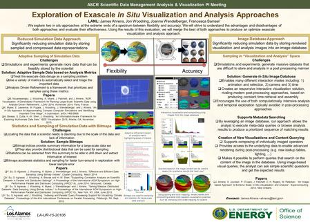 ASCR Scientific Data Management Analysis & Visualization PI Meeting Exploration of Exascale In Situ Visualization and Analysis Approaches LANL: James Ahrens,