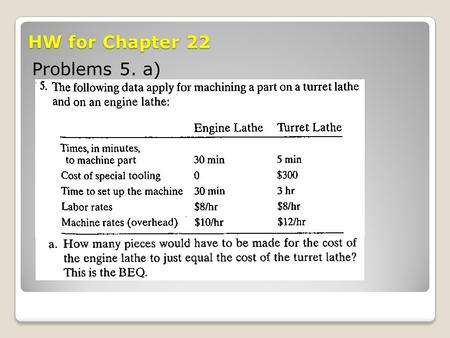 HW for Chapter 22 Problems 5. a).