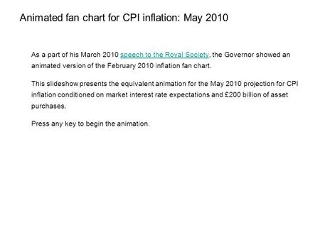Animated fan chart for CPI inflation: May 2010 As a part of his March 2010 speech to the Royal Society, the Governor showed an animated version of the.