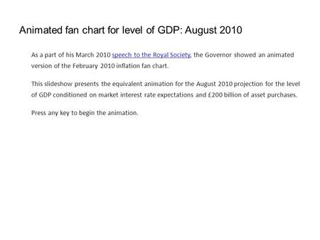 Animated fan chart for level of GDP: August 2010 As a part of his March 2010 speech to the Royal Society, the Governor showed an animated version of the.